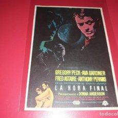 Cine: LA HORA FINAL CON GREGORY PECK Y AVA GARDNER. PUBLICIDAD AL DORSO. AÑO 1959.. Lote 195337533