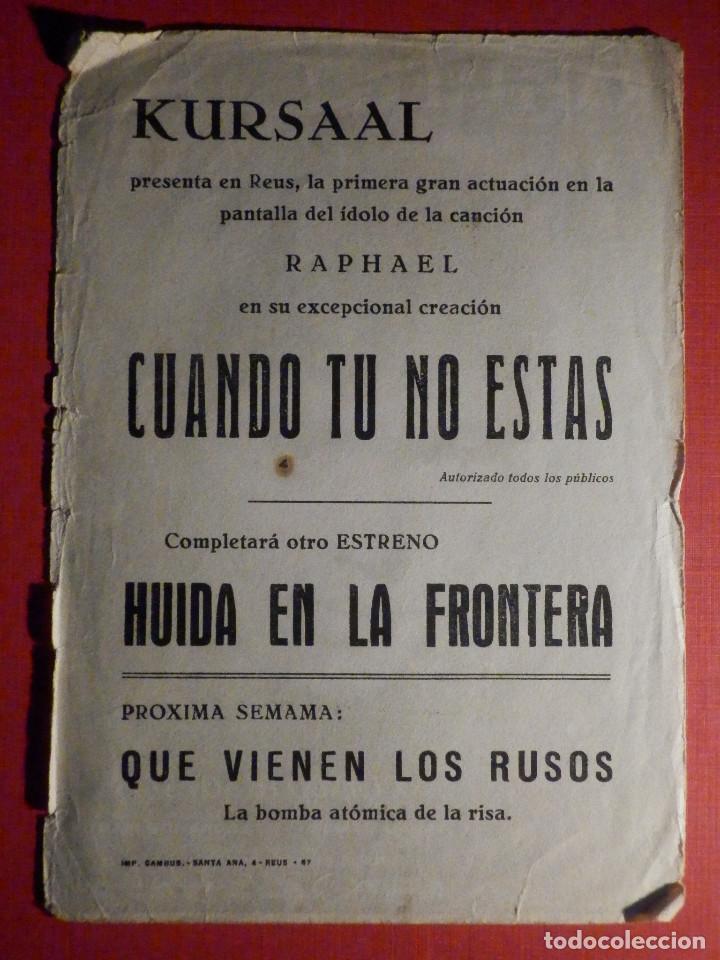 Cine: FOLLETO - PELÍCULA - FILM - LARGOMETRAJE - CINE - Cuando tu no estas - Kursaal - Foto 2 - 195345228