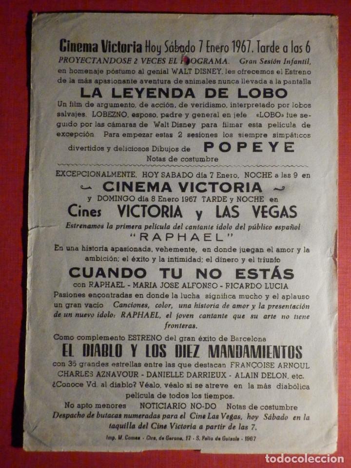 Cine: FOLLETO - PELÍCULA - FILM - LARGOMETRAJE - CINE - Cuando tu no estas - Cinema Victoria - Foto 2 - 195345267