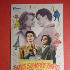 Cine: FOLLETO - PELÍCULA - FILM - LARGOMETRAJE - CINE - PARIS SIEMPRE FUE PARIS - CINE VICTORIA. Lote 195345655