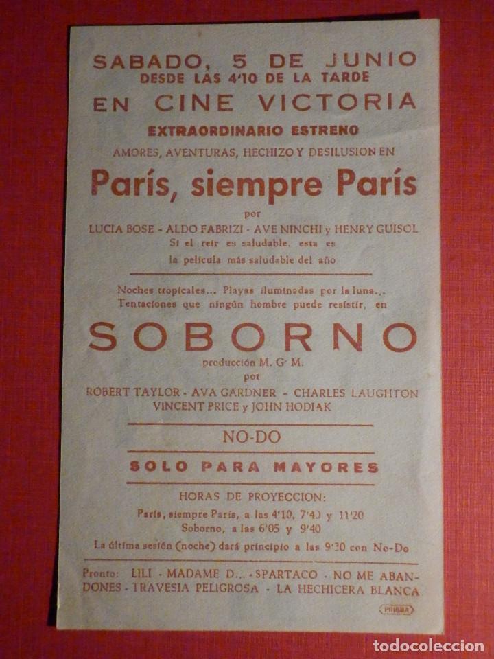 Cine: FOLLETO - PELÍCULA - FILM - LARGOMETRAJE - CINE - Paris Siempre fue Paris - Cine Victoria - Foto 2 - 195345655