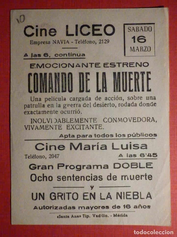 Cine: FOLLETO - PELÍCULA - FILM - LARGOMETRAJE - CINE - Comando de la muerte - Cine Liceo - Mérida - Foto 2 - 195345683