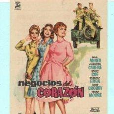 Cine: FOLLETO DE MANO NEGOCIOS DEL CORAZON SAL MINEO PUBLICIDAD DE AVENIDA EN REUS 1961. Lote 195369547