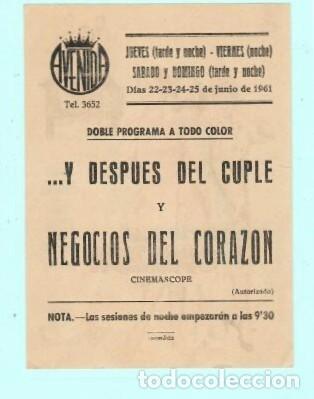 Cine: FOLLETO DE MANO NEGOCIOS DEL CORAZON SAL MINEO PUBLICIDAD DE AVENIDA EN REUS 1961 - Foto 2 - 195369547