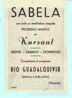 Cine: FOLLETO DE MANO SABELA CON PEPPINO DE FILIPPO PUBLICIDAD DE KURSAAL REUS - Foto 2 - 195380673
