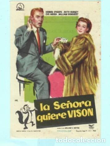 FOLLETO DE MANO LA SEÑORA QUIERE VISON CON DENNIS OKEEFE PUBLICIDAD DE KURSAAL REUS (Cine - Folletos de Mano - Comedia)