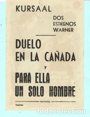 Cine: FOLLETO DE MANO PARA ELLA UN SOLO HOMBRE CON ANN BLYTH PUBLICIDAD DE KURSAAL REUS - Foto 2 - 195381497