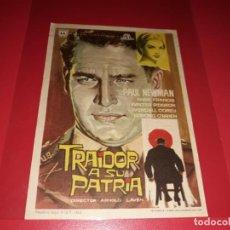 Cine: TRAIDOR A SU PATRIA CON PAUL NEWMAN. PUBLICIDAD AL DORSO. AÑO 1956. Lote 195427278