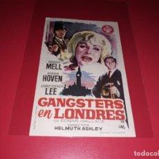 Cine: GANSTERS EN LONDRES CON CHRISTOPHER LEE. PUBLICIDAD AL DORSO. AÑO 1962.. Lote 195427693
