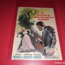 Cine: EL HOMBRE QUE NO QUISO HABLAR CON ZSA ZSA GABOR. PUBLICIDAD AL DORSO. AÑO 1958. Lote 195429425
