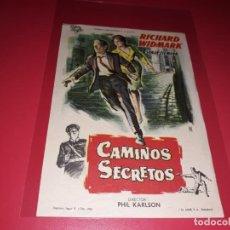 Cine: CAMINOS SECRETOS . PUBLICIDAD AL DORSO. AÑO 1961. Lote 195430152