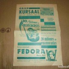 Cine: MAGNIFICO PROGRAMA DE CINE LOCAL GRAN KURSAAL MANRESA PELICULA 20 MILLONES DE ENAMORADAS 1935. Lote 195445585