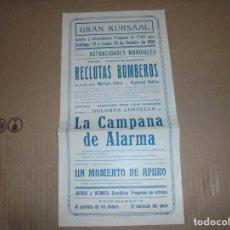 Cine: MAGNIFICO PROGRAMA DE CINE LOCAL GRAN KURSAAL MANRESA PELICULA RECLUTAS BOMBEROS 1928. Lote 195445712