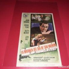 Cine: LA MATANZA DEL DIA DE SAN VALENTIN . PUBLICIDAD AL DORSO. AÑO 1967. . Lote 195508560