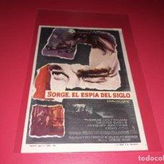 Cine: SORGE , EL ESPIA DEL SIGLO. PUBLICIDAD AL DORSO. AÑO 1961. . Lote 195508996