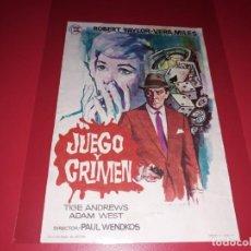 Cine: JUEGO Y CRIMEN CON ROBERT TAYLOR. PUBLICIDAD AL DORSO.. Lote 195511460