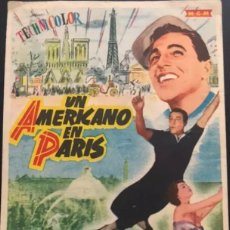 Cine: FOLLETO DE MANO PROGRAMA UN AMERICANO EN PARIS CON GENE KELLY Y LESLIE CARON. DIR. VICENTE MINELLI. Lote 195553837
