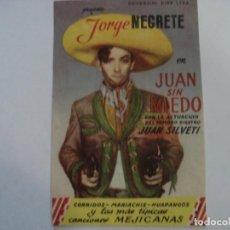 Folhetos de mão de filmes antigos de cinema: JUAN SIN MIEDO CINE CARVAJAL. Lote 195608478