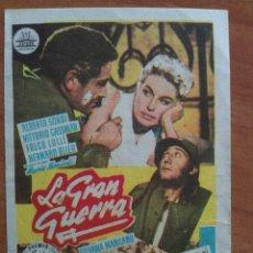 Cine: PROGRAMA DE MANO : LA GRAN GUERRA. Lote 195798731