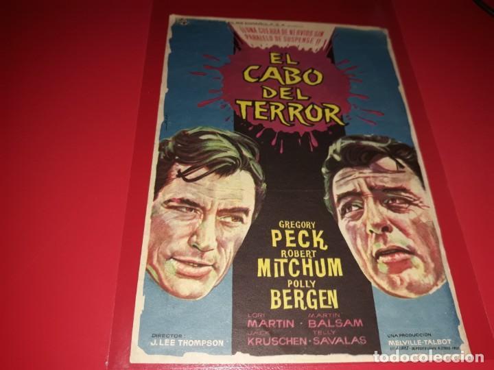 EL CABO DEL TERROR CON GREGORY PECK Y ROBERT MITCHUM. PUBLICIDAD AL DORSO. AÑO 1962 (Cine - Folletos de Mano - Terror)
