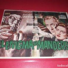 Cine: EL ENIGMA DE MANDERSON CON ORSON WELLES .PUBLICIDAD AL DORSO. AÑO 1952. Lote 195905126