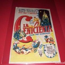 Cine: LA CENICIENTA DE WALT DISNEY. PUBLICIDAD AL DORSO. AÑO 1950. Lote 196118551
