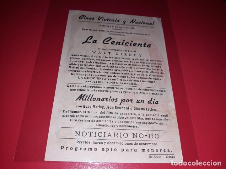 Cine: La Cenicienta de Walt Disney. Publicidad al dorso. Año 1950 - Foto 2 - 196118551