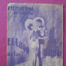 Cine: EL LAGO DE LAS DAMAS ROSINE DEREAN PROGRAMA DE CINE DOBLE 1935 C16. Lote 196153443