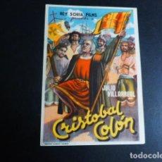 Cine: CRISTOBAL COLON PROGRAMA DE MANO SIN PUBLICIDAD. Lote 196247526