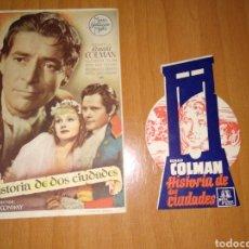 Cine: DOS PROGRAMAS DE MANO, UNO TROQUELADO, DE HISTORIA DE SUS CIUDADES. SIN PUBLICIDAD LOS DOS. Lote 196363890