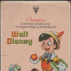 Flyers Publicitaires de films Anciens: FOLLETO MANO CINE CON PUBLICIDAD PINOCHO - WALT DISNEY. Lote 196498617