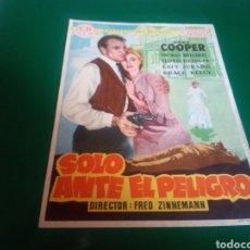 Cine: PROGRAMA DE CINE SIMPLE GRANDE. SÓLO ANTE EL PELIGRO. GARY COOPER. Lote 196601785