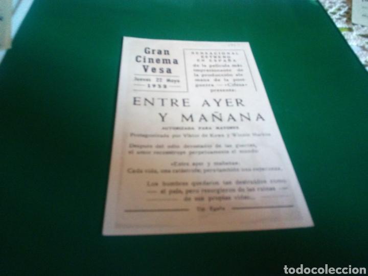 Cine: Programa de cine simple. Entre ayer y mañana. Gran Cinema Vesa. Egaña - Foto 2 - 196606175
