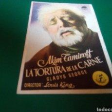 Cine: PROGRAMA DE CINE SIMPLE. LA TORTURA DE LA CARNE. CINE CÍRCULO FAMILIAR Y RECREATIVO DE MANRESA. Lote 196606838