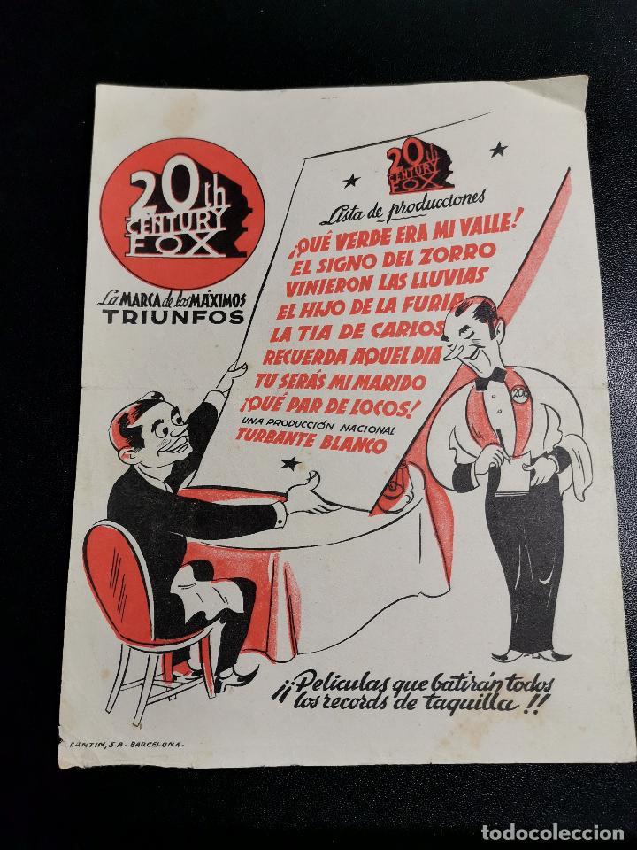 Cine: FOLLETO AÑOS 50 LISTA PRODUCCIONES CENTURY FOX - Foto 2 - 196640380