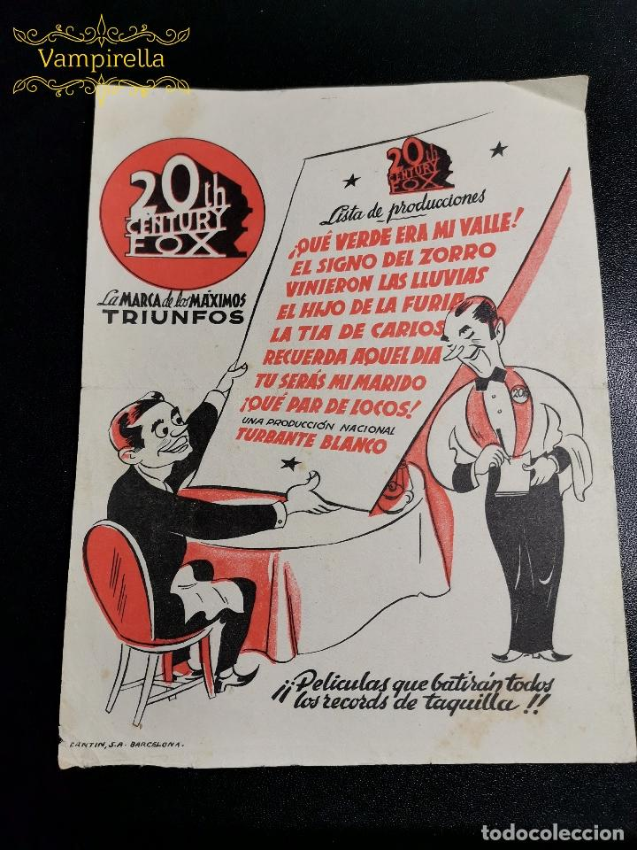 FOLLETO AÑOS 50 LISTA PRODUCCIONES CENTURY FOX (Cine - Folletos de Mano - Clásico Español)