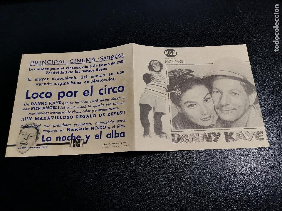 Cine: LOCO POR EL CIRCO--PROGRAMA PRINCIPAL CINEMA SARREAL TARRAGONA 1961 - Foto 3 - 196646816