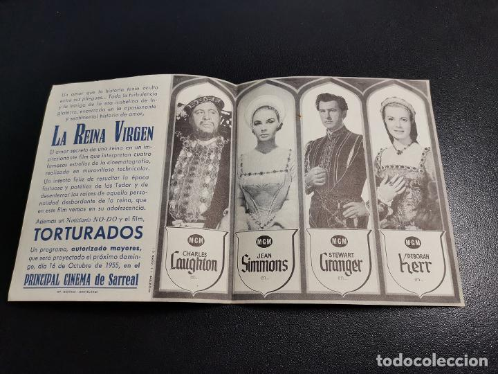 Cine: LA REINA VIRGEN--PROGRAMA PRINCIPAL CINEMA SARREAL TARRAGONA 1955 - Foto 3 - 196647242