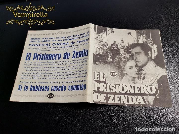 PRISIONERO DE ZENDA -PROGRAMA PRINCIPAL CINEMA SARREAL TARRAGONA 1955 (Cine - Folletos de Mano - Clásico Español)