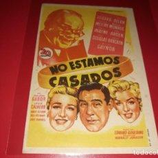 Cine: NO ESTAMOS CASADOS CON MARILYN MONROE. PUBLICIDAD AL DORSO. AÑO 1952. Lote 196795040