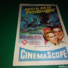 Cine: PROGRAMA DE CINE SIMPLE. DUELO EN EL FONDO DEL MAR. CINE CATALUÑA DE MANRESA. Lote 196931452