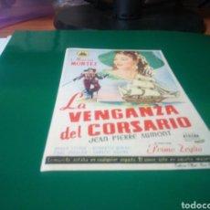 Cine: PROGRAMA DE CINE SIMPLE. LA VENGANZA DEL CORSARIO. CINES KURSAAL Y CATALUÑA DE MANRESA. Lote 197034275