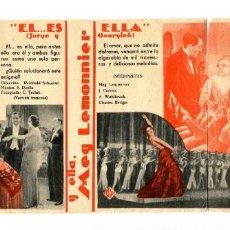 Folhetos de mão de filmes antigos de cinema: EL, ES ELLA, CON MEG LEM ONNIER.. Lote 197073516