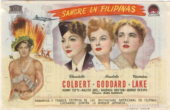 PROGRAMA DE CINE - SANGRE EN FILIPINAS - CLAUDETTE COLBERT, PAULETTE GODDARD - CINE CAPITOL (MÁLAGA) (Cine - Folletos de Mano - Bélicas)
