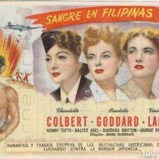Flyers Publicitaires de films Anciens: PROGRAMA DE CINE - SANGRE EN FILIPINAS - CLAUDETTE COLBERT, PAULETTE GODDARD - CINE CAPITOL (MÁLAGA). Lote 197075523
