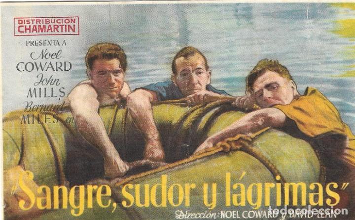 PROGRAMA DE CINE - SANGRE, SUDOR Y LÁGRIMAS - NOEL COWARD, JOHN MILLS - CINE AVENIDA (MÁLAGA) - 1942 (Cine - Folletos de Mano - Bélicas)