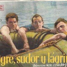 Cine: PROGRAMA DE CINE - SANGRE, SUDOR Y LÁGRIMAS - NOEL COWARD, JOHN MILLS - CINE AVENIDA (MÁLAGA) - 1942. Lote 197076393