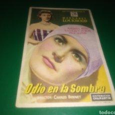 Cine: PROGRAMA DE CINE SIMPLE. ODIO EN LA SOMBRA. CINE APOLO DE MANRESA. 1951. Lote 197128125