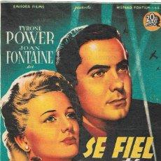 Cine: PROGRAMA DE CINE - SÉ FIEL A TÍ MISMO - TYRONE POWER, JOAN FONTAINE - 1942 - SIN PUBLICIDAD.. Lote 197178601