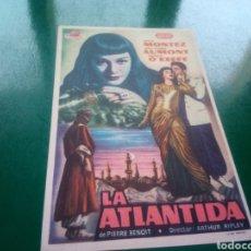 Cine: PROGRAMA DE CINE SIMPLE. LA ATLÁNTIDA. 1952. Lote 197195003